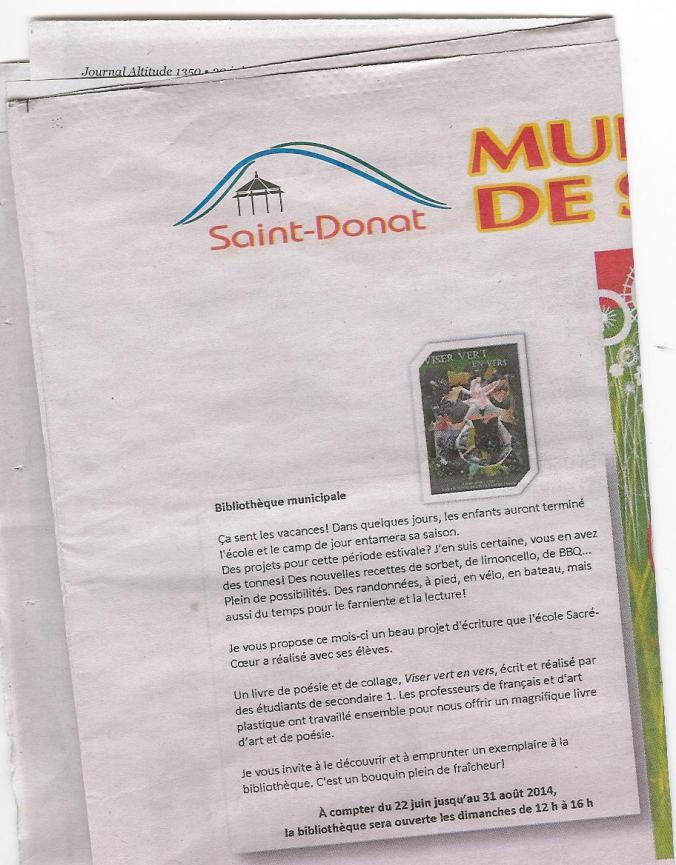 Journal_St-Donat-Viser vert en vers