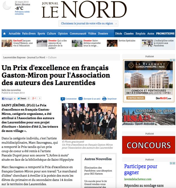 Prix_Excellence_en-Français_Gaston-Miron(Journal_LeNord)_2015